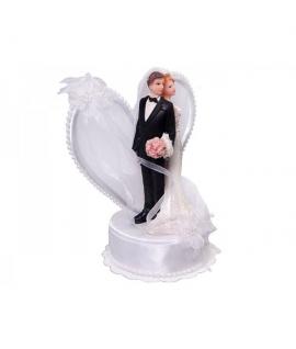 """Figurine pour gâteau """"couple de mariés dos à dos avec arrière plan en coeur"""" en blanc"""