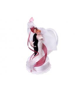 """Figurine pour gâteau """"couple de mariés dos à dos avec arrière plan en coeur"""" en blanc et rouge"""