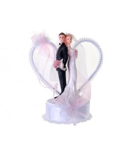 """Figurine pour gâteau """"couple de mariés dos à dos avec arrière plan en coeur"""" en blanc et rose"""