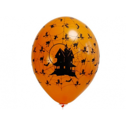10x Ballon à gonfler orange maison hantée