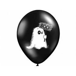 10x Ballon à gonfler noir et blanc fantôme BOO
