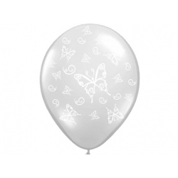 10 x ballon blanc cristal papillons