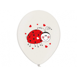 10 x ballon d'anniversaire coccinelle rouge et blanc