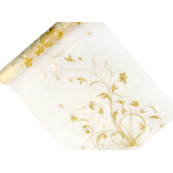 Rouleau d'organza crème avec arabesque (36 cm x 9 m)