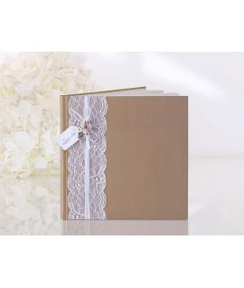Livre d'or carré brun arabesque florale argentée
