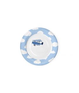"""6 x assiette ronde bleue """"petit avion"""" 18cm"""