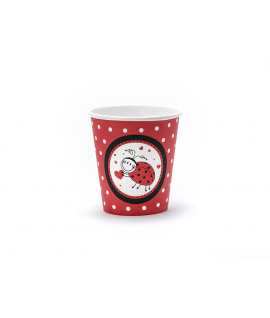 """6 x gobelet """"coccinelle"""" noir et rouge"""
