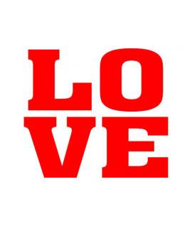 """Stickers """"LOVE"""" rouge sur blanc 2 pièces 47x37mm"""