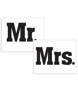 """Stickers """"Mrs."""" noir sur blanc 2 pièces 47x37mm"""