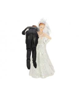 """Figurine pour gâteau """"la mariée qui porte le marié sur son épaule"""" en blanc"""