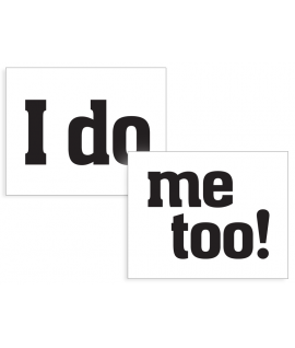 """Stickers """"I do & me too"""" noir sur blanc 2 pièces 47x37mm"""