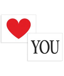 """Stickers """" coeur & YOU"""" rouge & noir sur blanc 2 pièces 47x37mm"""