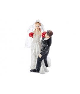 """Figurine pour gâteau """"la mariée qui boxe le marié"""""""