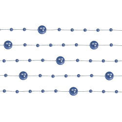 5 x Guirlande de perles bleu marine 130 cm