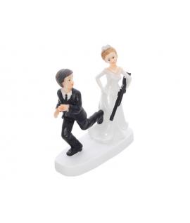 """Figurine pour gâteau """"mariée avec un fusil"""""""