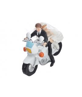 """Figurine pour gâteau """"couple de mariés sur une moto"""" avec homme à l'avant"""