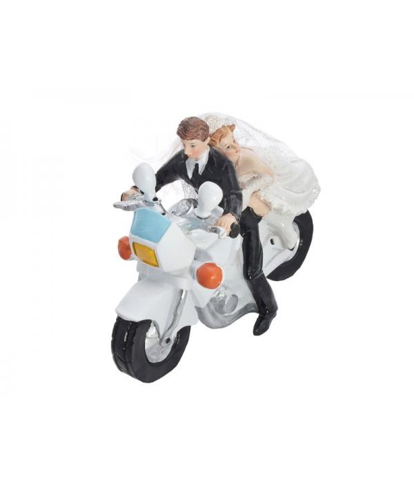 figurine pour g teau couple de mari s sur une moto avec homme l 39 avant. Black Bedroom Furniture Sets. Home Design Ideas