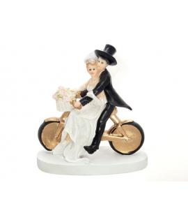 """Figurine pour gâteau """"couple de mariés sur un vélo"""""""