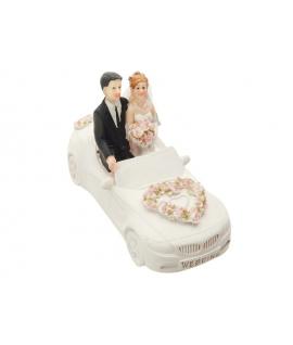 """Figurine pour gâteau """"couple de mariés en voiture"""""""
