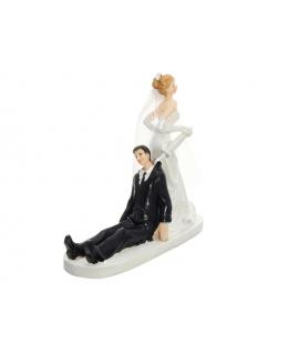 """Figurine pour gâteau """"le marié assis derrière la mariée"""""""