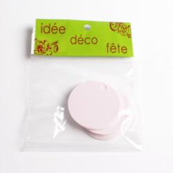 25 x Nominette rose clair ronde en carton (3 cm de diamètre)