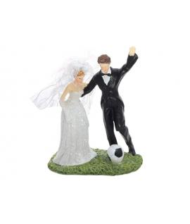 "Figurine pour gâteau ""couple de mariés qui joue au foot"""