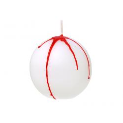 Bougie ronde Halloween blanche et rouge