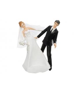 """Figurine pour gâteau """"couple de mariés qui se penche"""""""