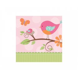 16 x serviette oiseau rose carrée moyenne