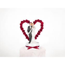 """Figurine pour gâteau """"couple de mariés avec alcôve rouge en rose"""