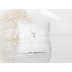 Coussin d'alliance satin blanc dentelle ruban blanc et roses blanches