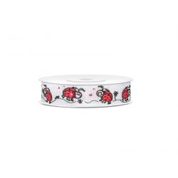 """Rouleau ruban """"coccinelle"""" noir et rouge 15cm"""