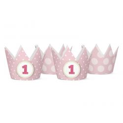 4 x chapeau de fête forme couronne rose 1 an