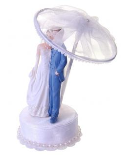 """Figurine pour gâteau """"couple de mariés sous parapluie"""" en blanc et bleu ciel"""