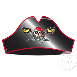 Chapeau de pirate noir en carton tête de mort et foulard rouge