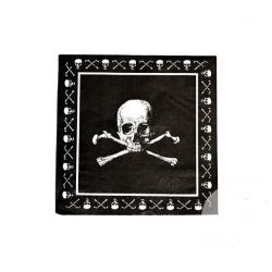 20 x Serviette pirate tête de mort noir et blanc