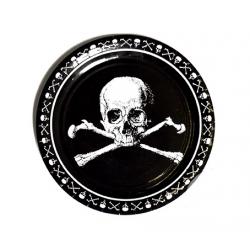 8 x Assiette pirate tête de mort noir et blanc