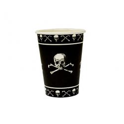 8 x Gobelet pirate tête de mort noir et blanc