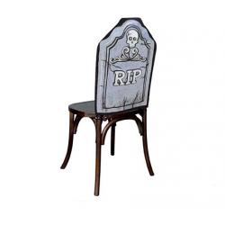 Housse de chaise Halloween Pierre tombale gris et noir 48x61cm