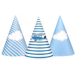 6x Chapeau d'anniversaire bleu avion