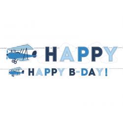 "Guirlande anniversaire ""avion"" bleu blanc"