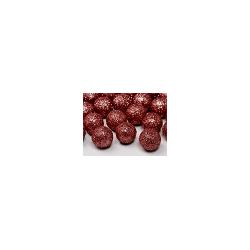 Boule décorative rouge pailletée 25 p D2cm