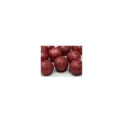 Boule décorative rouge pailletée 9 p D3cm