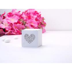 10 x Boite à dragées cube blanc coeur