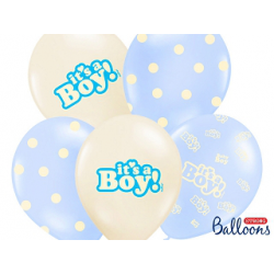 10 x ballon IT'S A BOY bleu et or