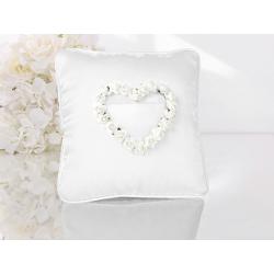 Coussin d'alliance satin blanc roses blanches en forme de coeur