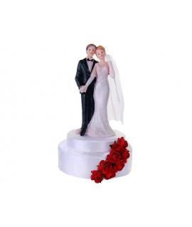 """Figurine pour gâteau """"couple de mariés se tenant la main"""" en blanc et rouge"""