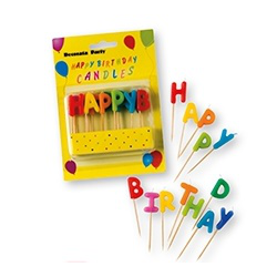 "Bougies ""HAPPY BIRTHDAY"" lettres multicolores"