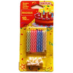 10x Bougie d'anniversaire magique pour gâteau