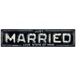 "Plaque d'immatriculation ""Just married"" vintage (50x11,5cm)"